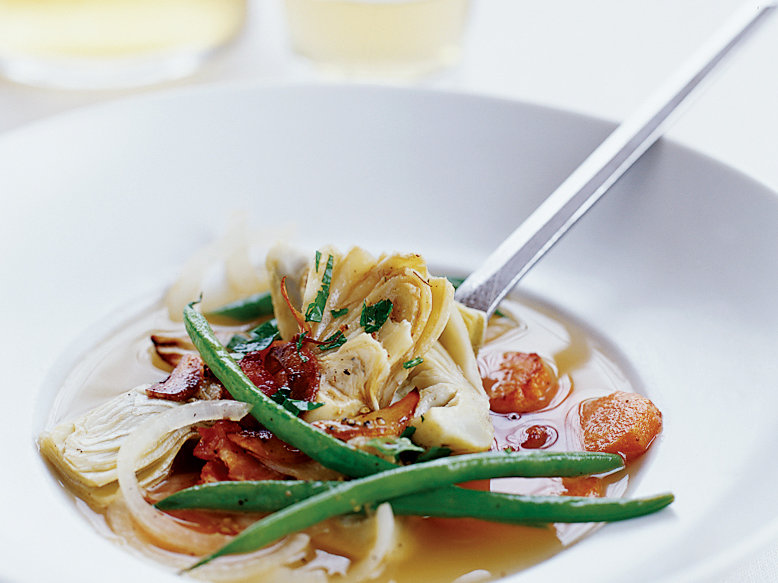 Artichokes Simmered with Green Beans and Bacon
