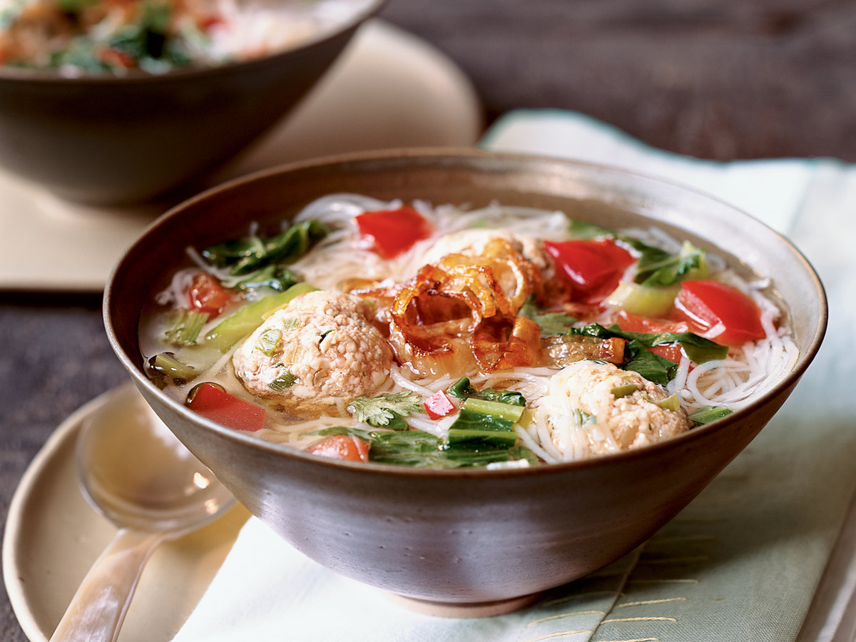 Bok Choy and Rice Noodle Soup with Turkey Meatballs