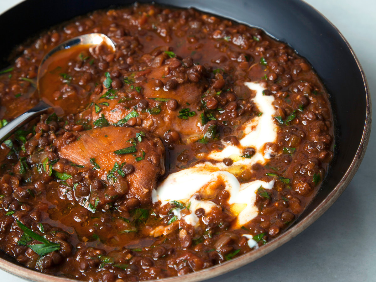 Slow Cooker Ethiopian Spiced Chicken And Black Lentil Stew