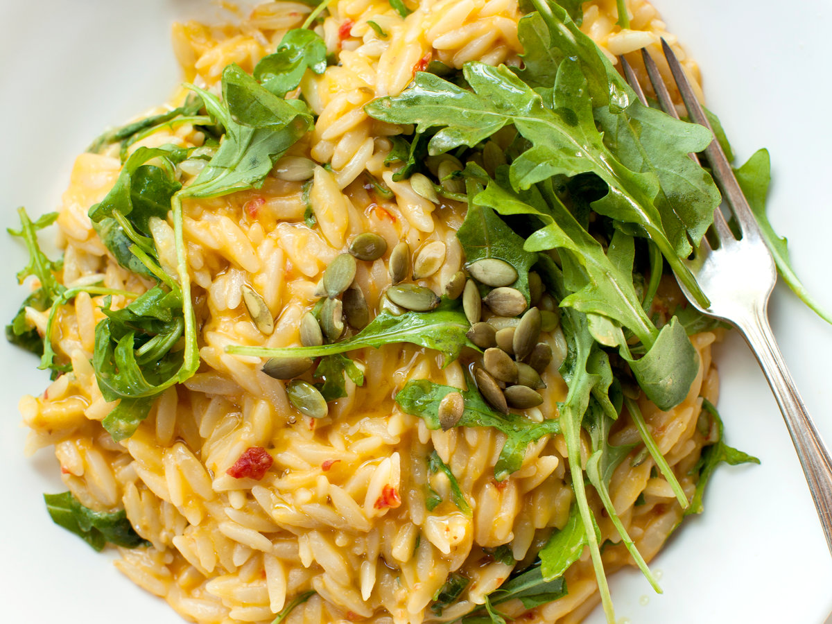 Spicy Cheddar and Pumpkin Orzo with Arugula