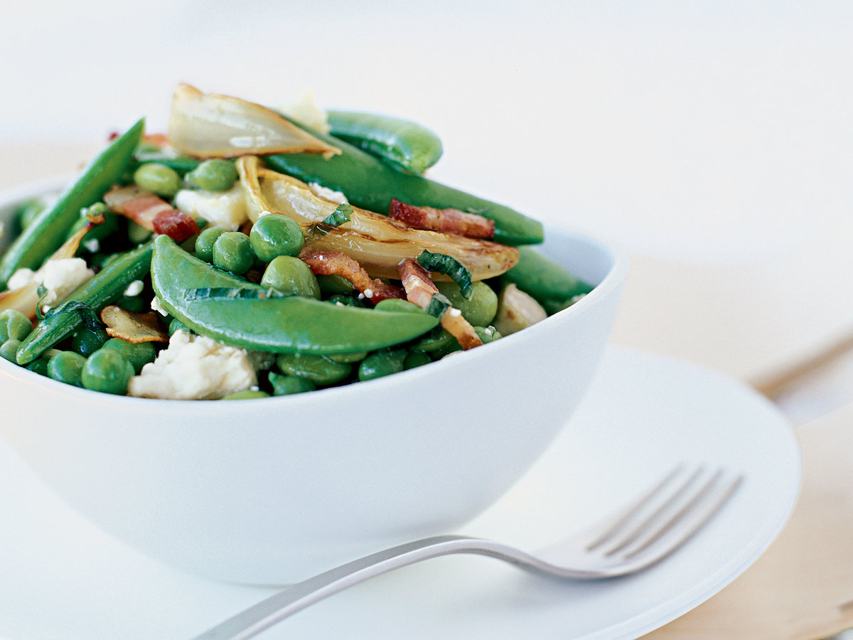 Edamame and Pea Salad with Sweet Onions and Goat Cheese
