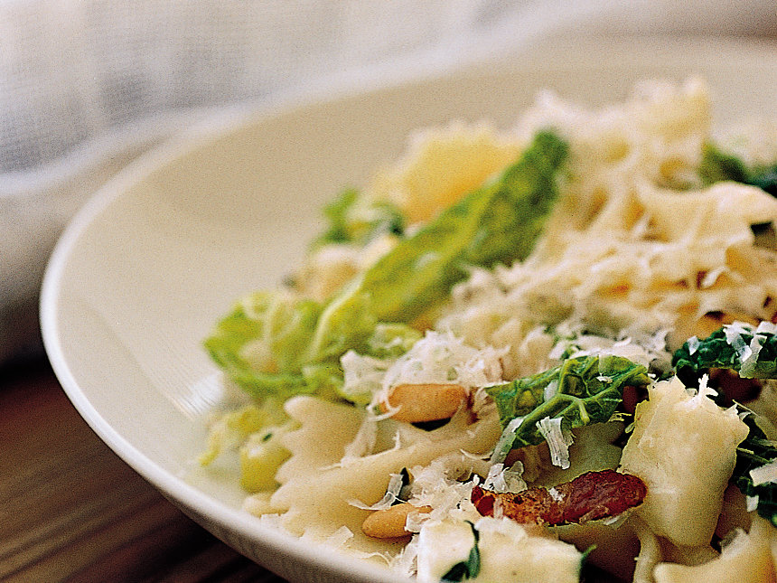 Farfalle with Savoy Cabbage, Pancetta and Mozzarella