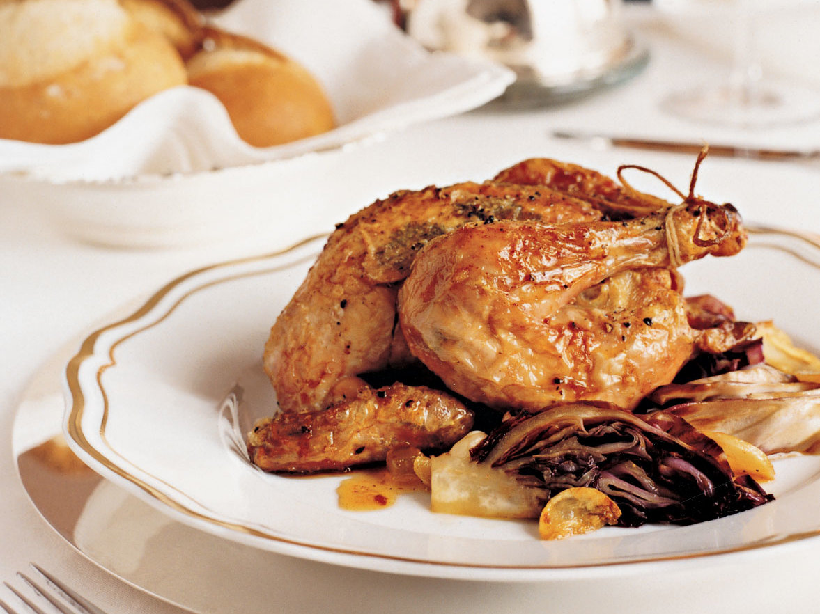 Glazed Cornish Hens with Garlicky Radicchio