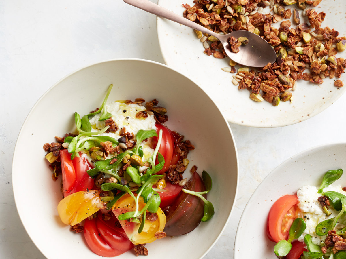 Heirloom Tomatoes with Ricotta and Savory Granola Recipe ...