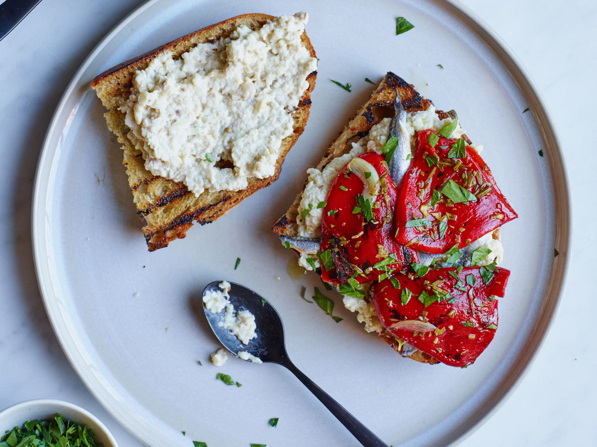 Marinated Piquillo Pepper and Whipped Eggplant Toasts ...