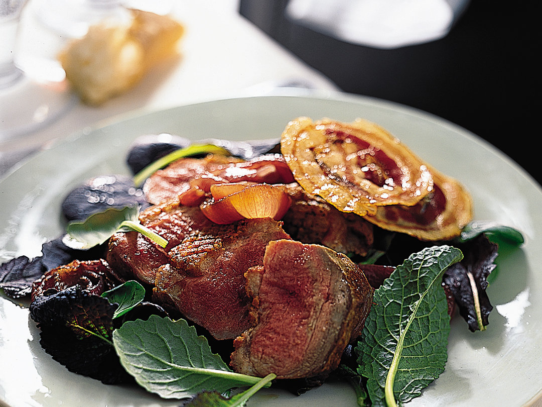 Pan-Roasted Duck Breasts with Onions and Crisp Pancetta
