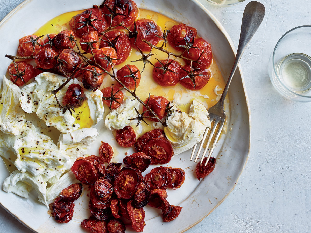 Buffalo Mozzarella with Neat and Messy Roasted Tomatoes
