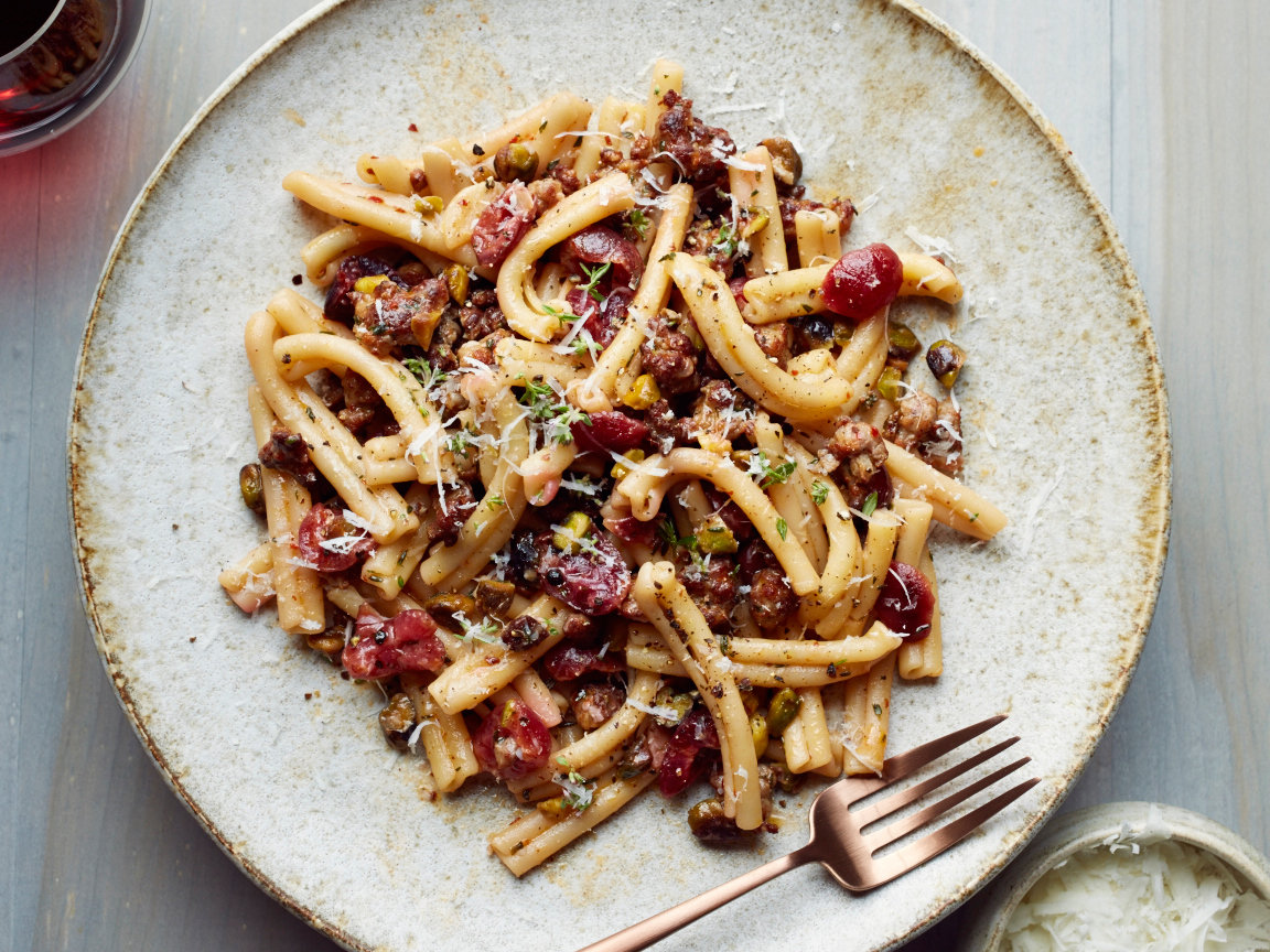 Casarecce with Sausage, Pickled Cherries and Pistachios
