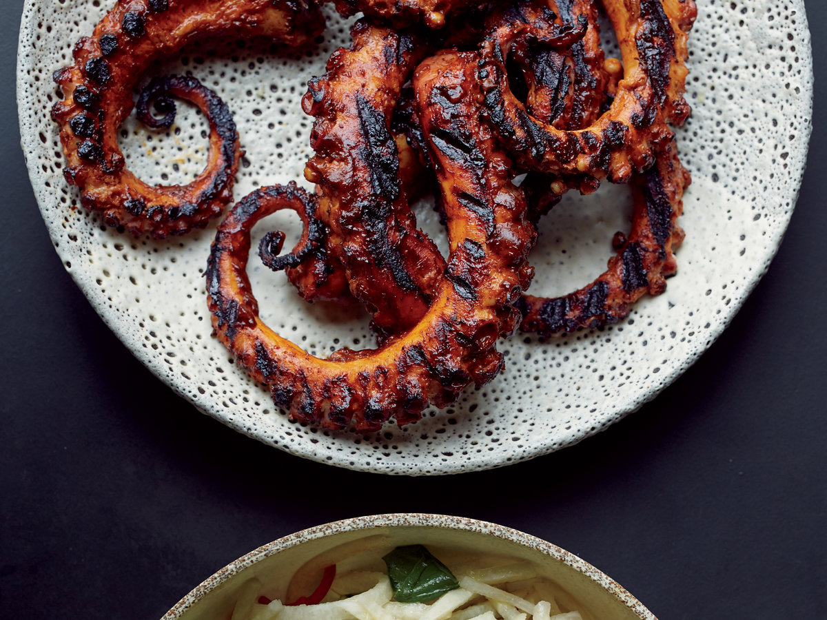 Grilled Octopus with Ancho Chile Sauce Recipe - Tom ...