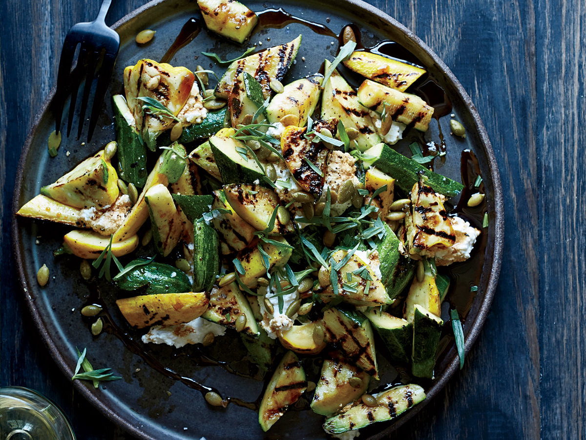 Grilled Zucchini with Ricotta and Pomegranate Molasses