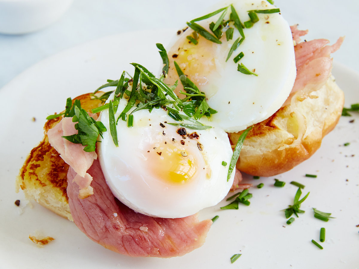 Open Face Egg And Griddled Ham Breakfast Sandwiches