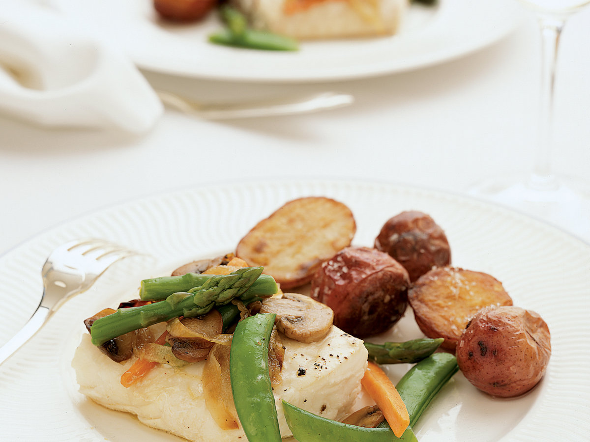 Roasted Halibut with Vegetables en Papillote