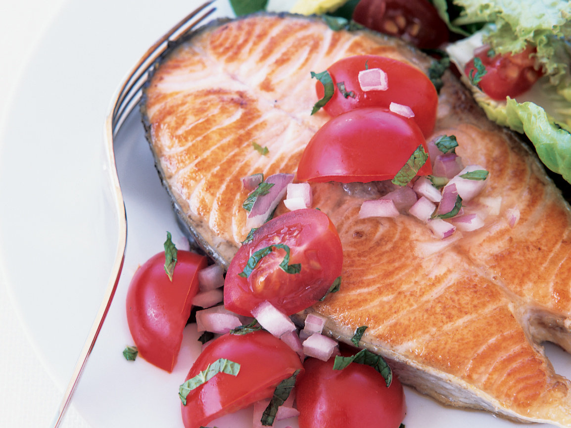 Salmon Steaks with Grape Tomatoes and Mint