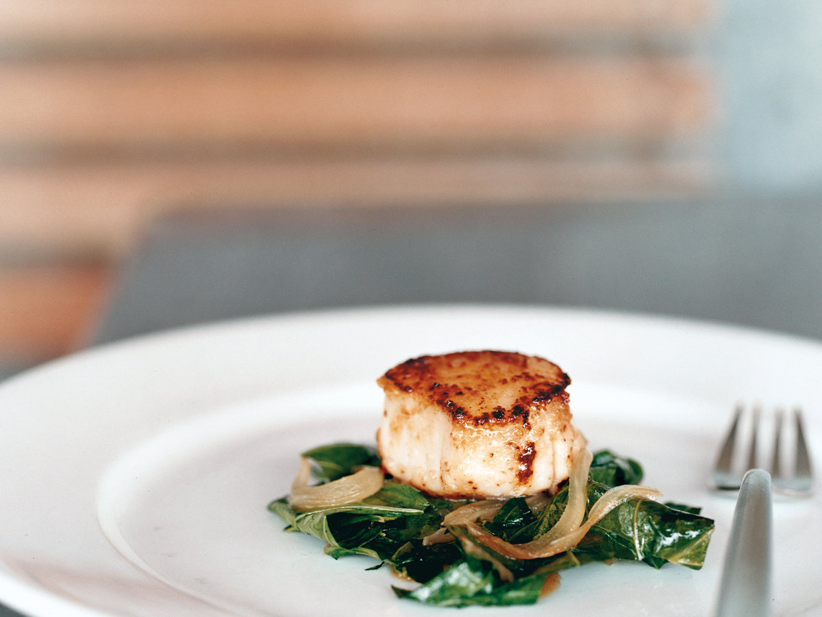 Seared Scallops with Braised Collard Greens and Cider Sauce