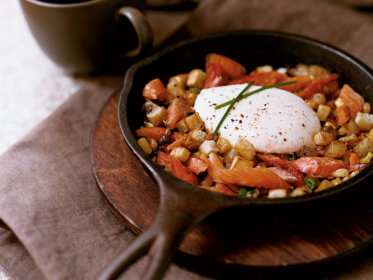 Smoked Trout Hash with Potatoes and Corn