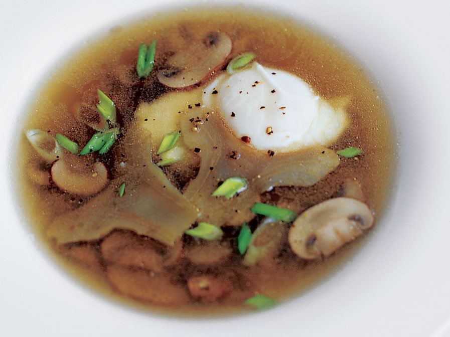 Soft-Cooked Eggs and Artichokes in Broth