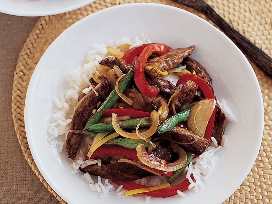 Stir-Fried Peking Lamb with Peppers and Green Beans