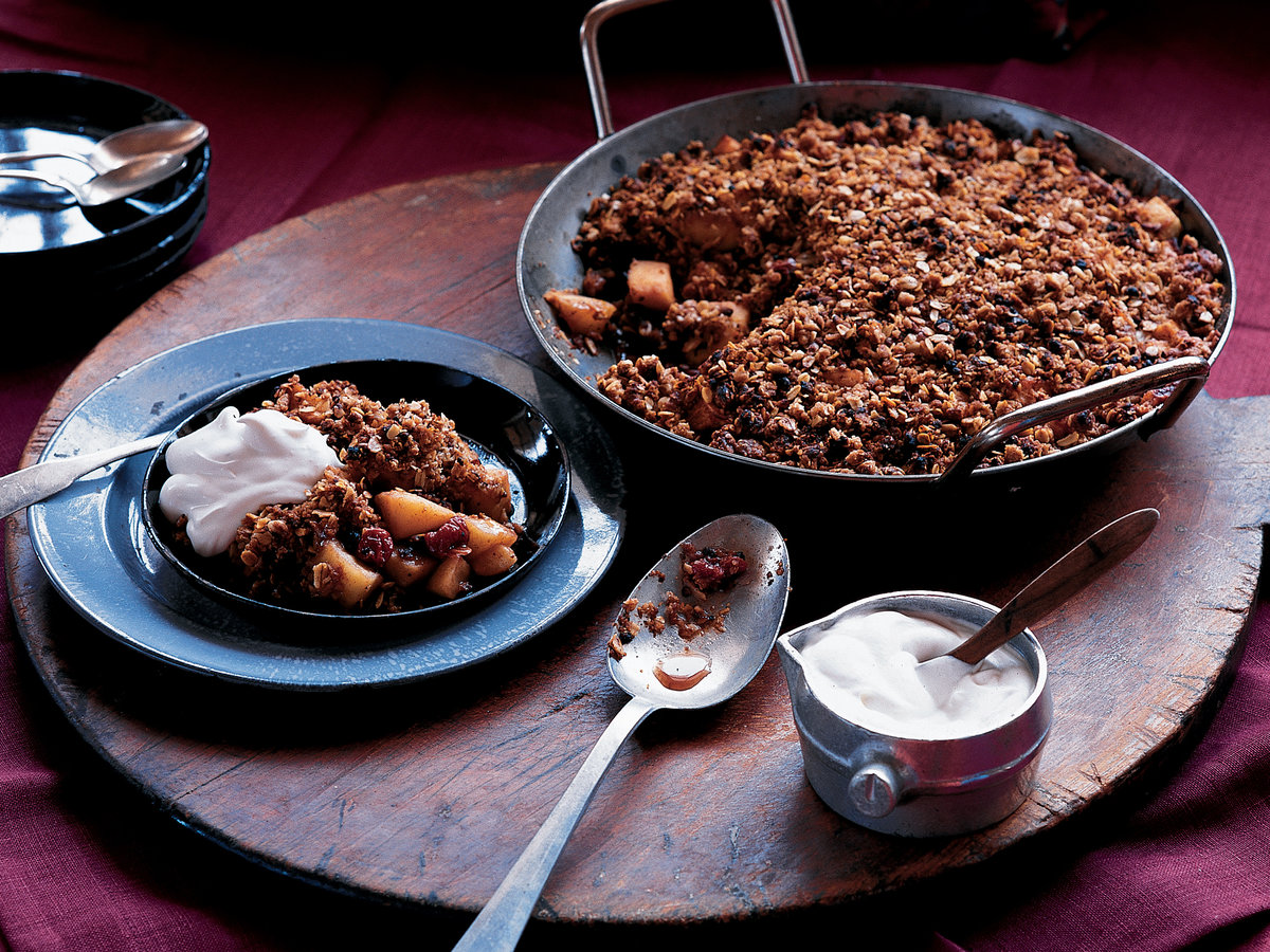Warm Apple and Dried Cherry Crisp