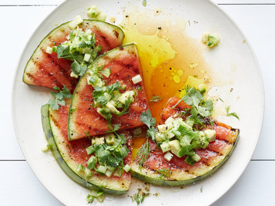 Grilled Watermelon with Avocado, Cucumber and Jalapeno Salsa