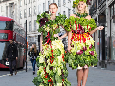 vegetable dress designed by Katy Perry's costume designer