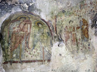 Crypt of the Original Sin, by Paitner of Flowers in Matera, 9th Century, fresco