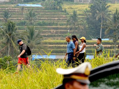 Former US president Barack Obama Jatiluwih tourist site in Tabanan on Bali island Indonesia