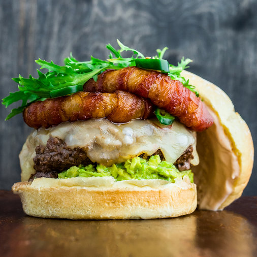 Bacon-Wrapped Onion Ring Cheeseburgers