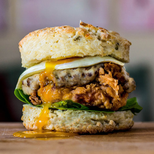 Fried Chicken and Biscuit Burger