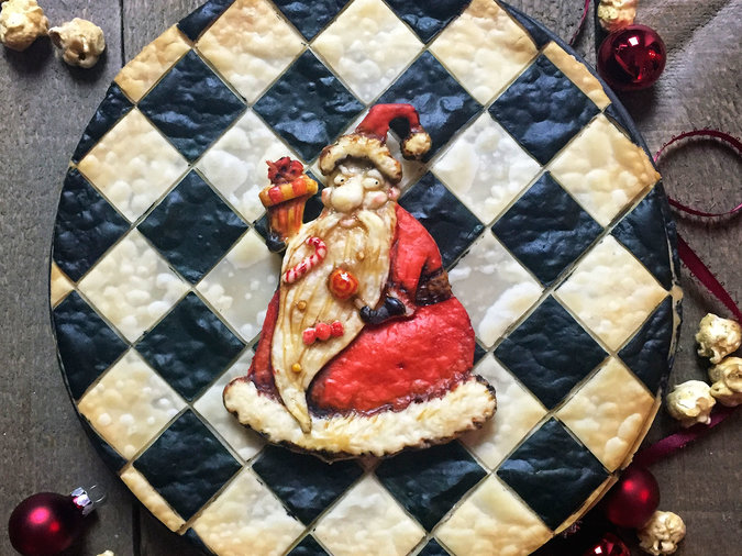 tim burton santa pie checkered background