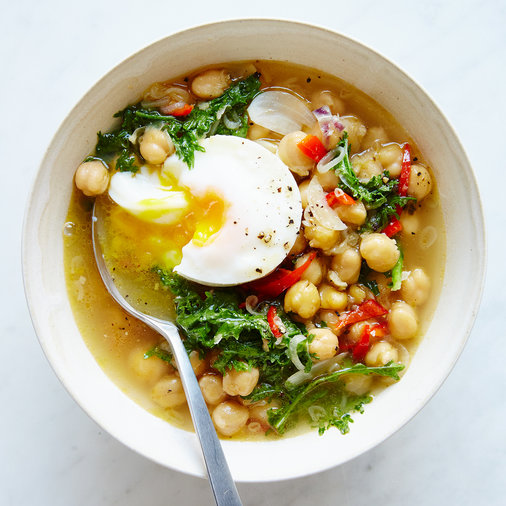 Chickpeas with Eggs and Mustard Greens
