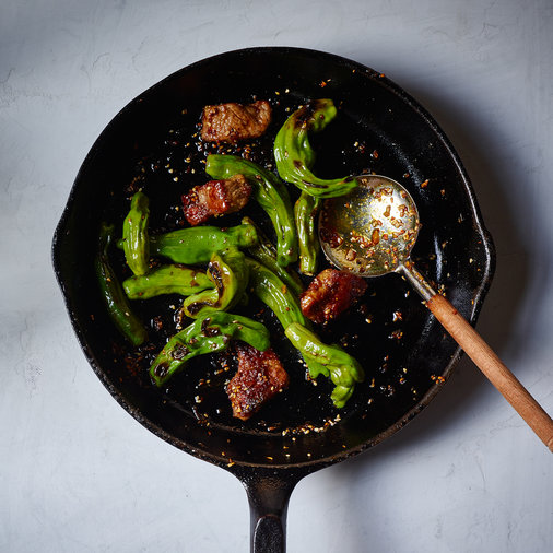 Wok-Seared Steak Majong with Shishito Peppers
