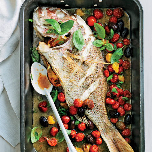 Whole Roast Snapper with Heirloom Tomatoes & Olives
