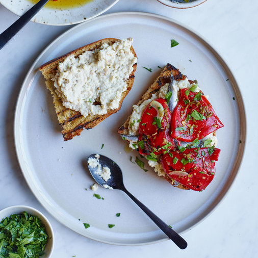Marinated Piquillo Peppers and Whipped Eggplant Toasts
