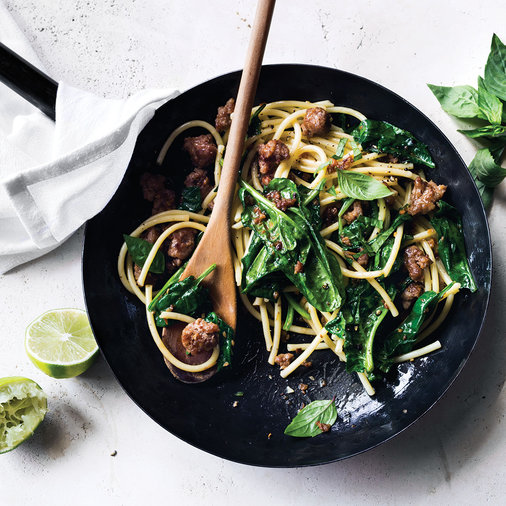 Pork and Spinach Noodles