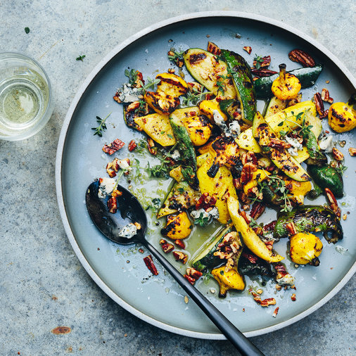 Grilled Summer Squash with Blue Cheese and Pecans