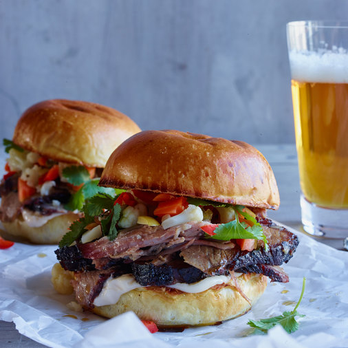 Smoked Brisket Sandwiches with Pickled Vegetables
