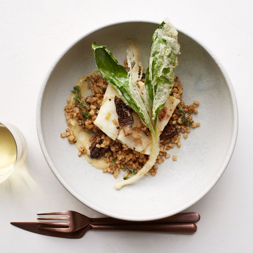 Halibut with Einkorn, Morels and Tempura Ramps