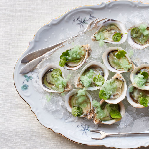 Oysters with Green Apple and Wasabi Granita