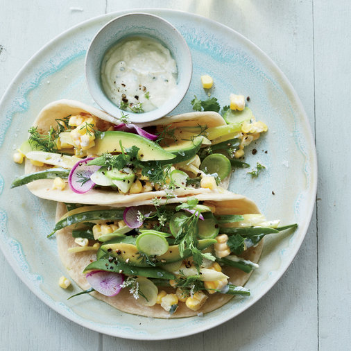 Green Market Tacos with Corn Crema
