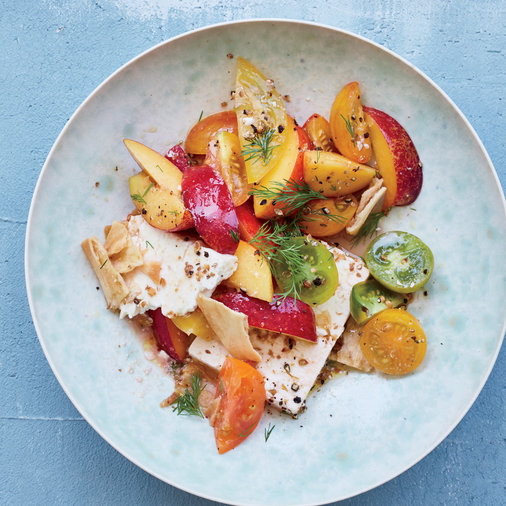 Marinated Feta with Nectarine and Tomato Fattoush