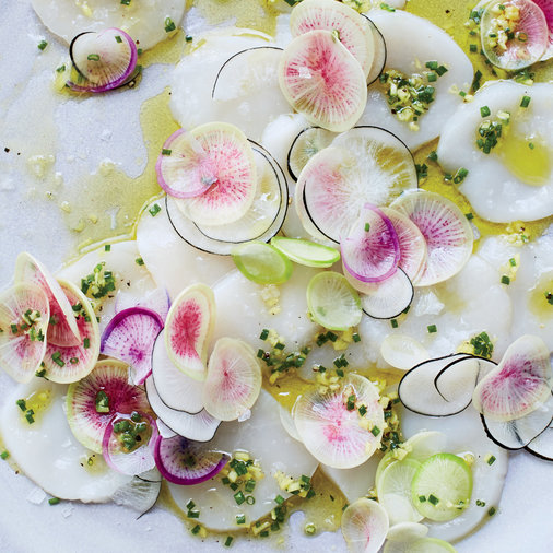 Scallop Carpaccio with Hand Cut Ginger Chive Pesto