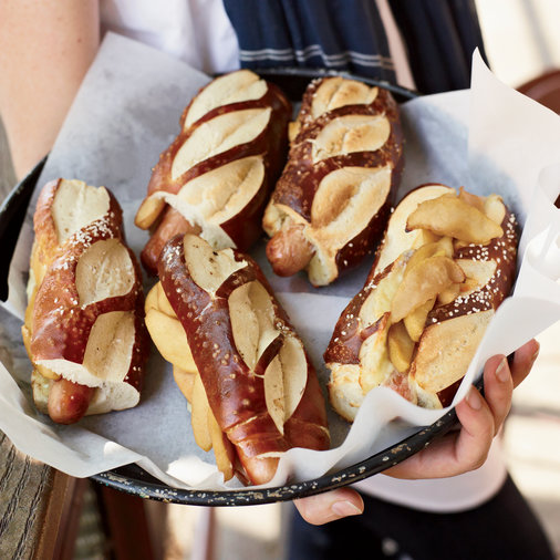 Hot Dogs with Cheddar and Sautéed Apples