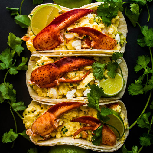 Lobster Breakfast Tacos with Soft Scrambled Eggs, Goat Cheese and Avocado Cream