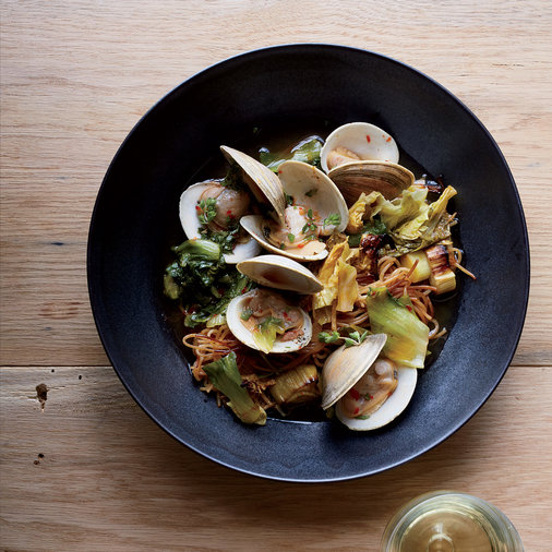 Toasted Capellini with Clams and Dashi
