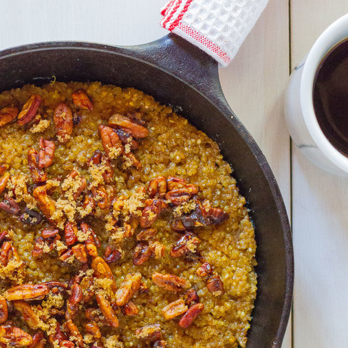 Baked Quinoa and Oatmeal with Candied Pecans