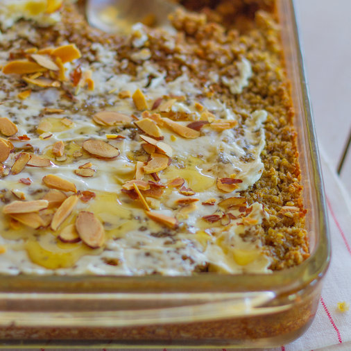 Honey-Almond Quinoa with Cream Cheese Casserole