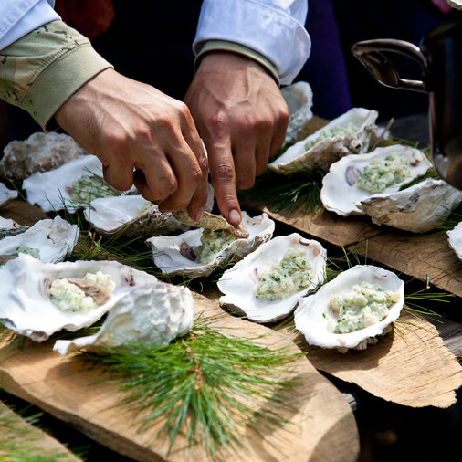 Pine Needle-Steamed Oysters