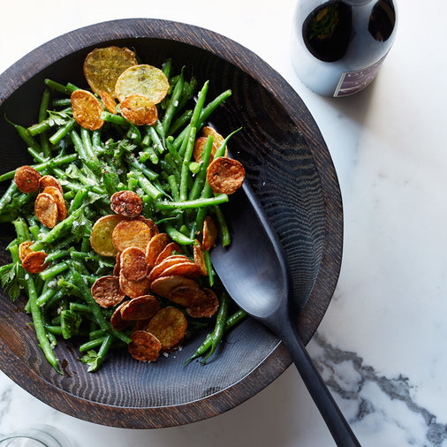 Haricot Verts Salad with Crispy Potato Chips