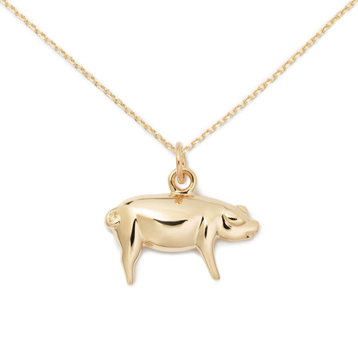 Solid Gold Pig Pendant
