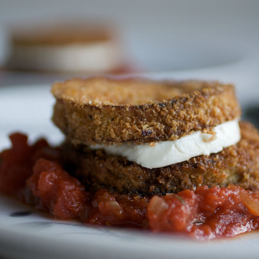 Eggplant and Goat Cheese Sandwiches with Tomato Tarragon Sauce